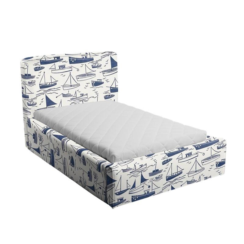 Niebiesko-białe łóżko dziecięce statki basic slim