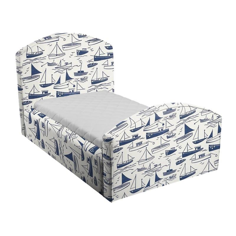 Niebiesko-białe łóżko dziecięce statki caroline plus