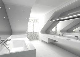 Nieskazitelnie biała łazienka na poddaszu