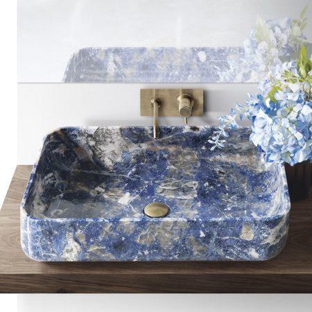 Prostokątna umywalka z marmuru BOWL n9