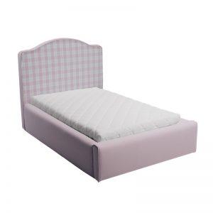 Różowe łóżko młodzieżowe w kratkę soho