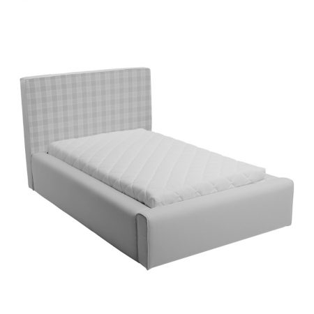 Szare łóżko młodzieżowe w kratkę basic