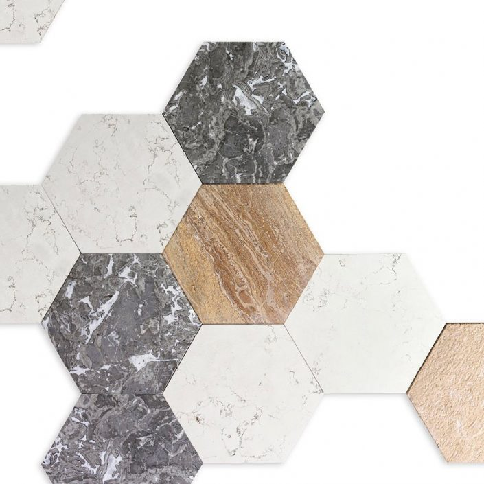 Heksagonalne płytki z marmuru Hana Kreoo