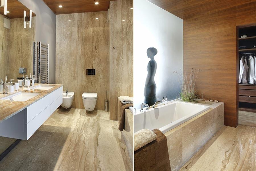 Łazienka wykończona marmurem i boaze