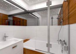 Biało-brązowa łazienka z wanną