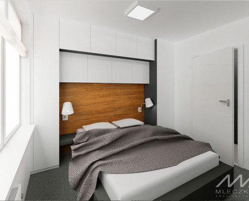 Drewniane wezgłowie w białej sypialni