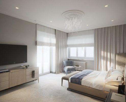 Jasna sypialnia z telewizorem