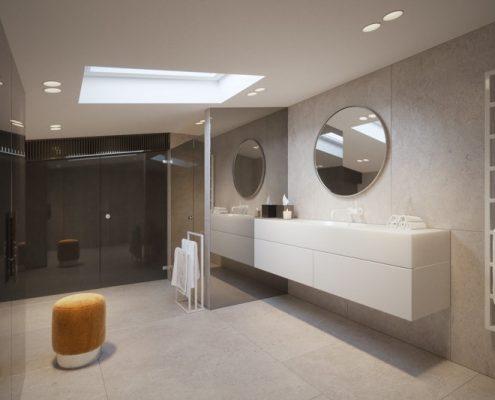 Naturalne kolory w łazience na poddaszu