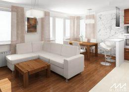 Otwarte wnętrze - salon z kuchnią
