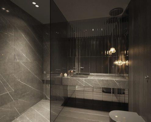 Projekt ciemnej łazienki z prysznicem