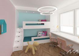 Projekt pokoju dziecięcego piętrowym łóżkiem