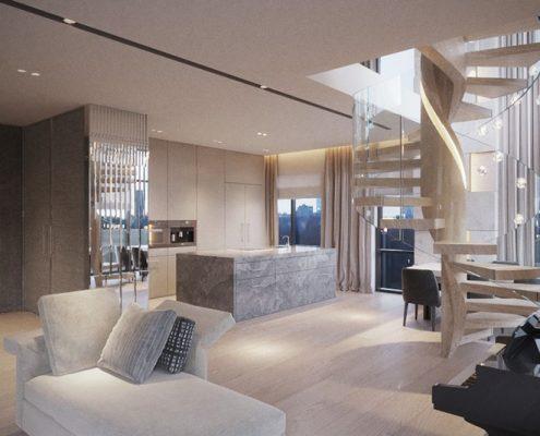 Projekt stylowego apartamentu - salon, jadalnia i kuchnia