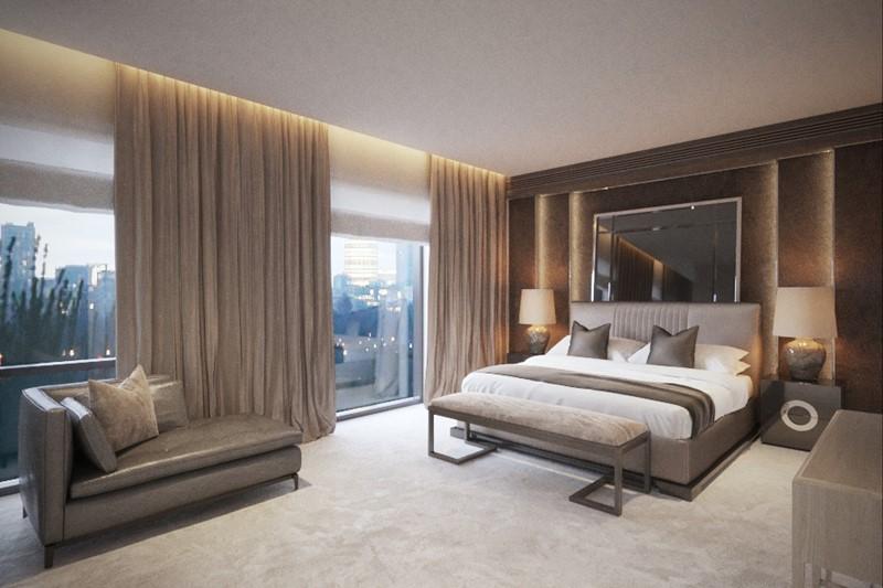 Modna sypialnia - projekt sypialni w brązach i beżach