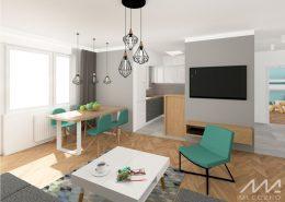 Salon z małą kuchnią i jadalnią
