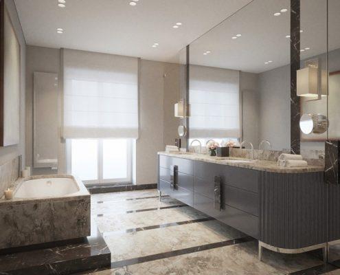 Szykowna łazienka w stylu art deco