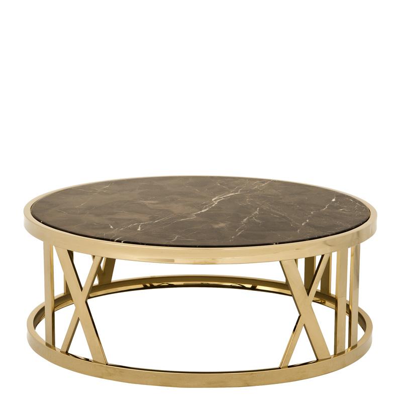 Stolik kawowy Baccarat czarny marmur złoty ø 100 x H. 37 cm