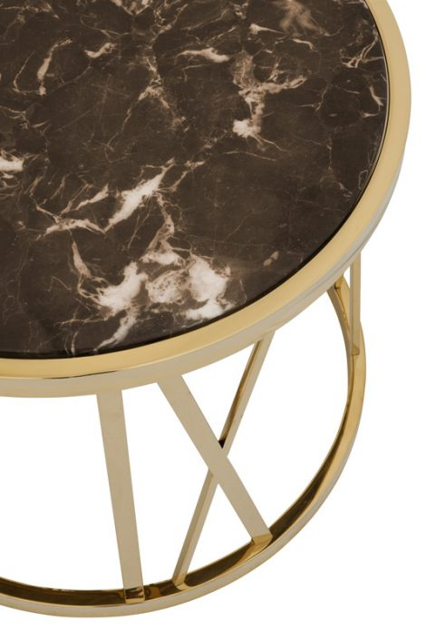 Stolik pomocniczy Baccarat czarny marmur złoty ø 60 x H. 48 cm
