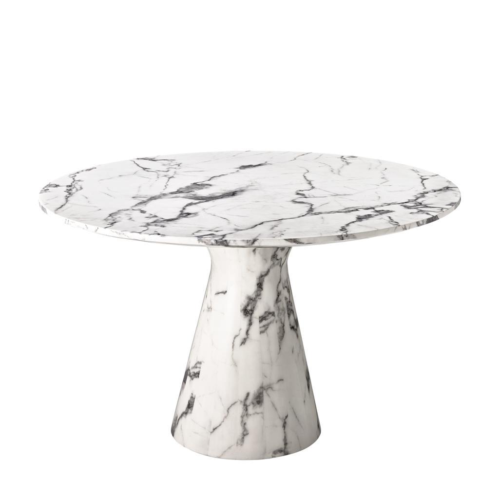 Okrągły stół na nodzeTurner white faux marble Eichholtz
