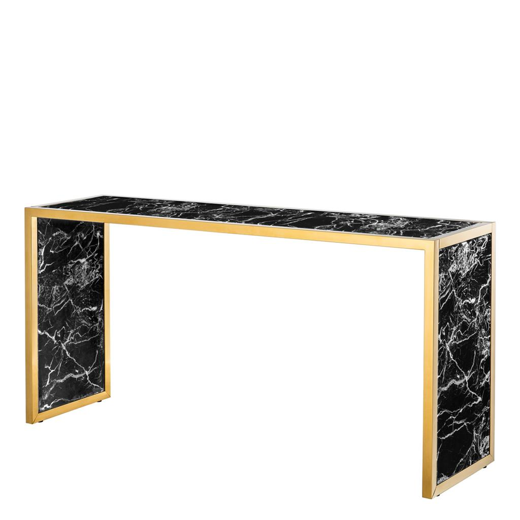 Konsola Moscova gold finish | black faux mar