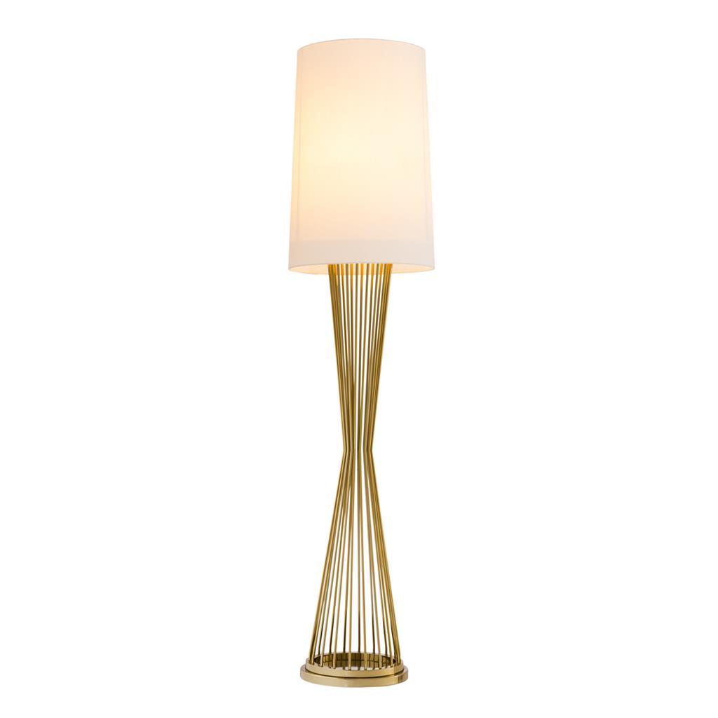 Lampa podłogowa Holmes złote wykończenie z abażurem Eichholtz