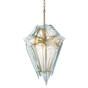 Żyrandol Shard satin gold finish clear glass Eichholtz