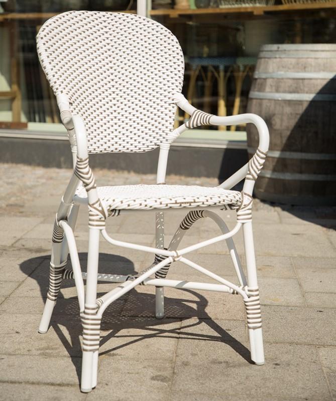 7181CPWH Isabell arm chair meble Sika Białe krzesła ogrodowe z klasyczną nutą