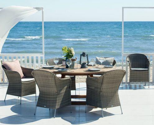Eleganckie krzesła zewnętrzne 9140T 9446U meble Sika