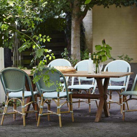 9166 meble Sika Turkusowe krzesła w ogrodzie