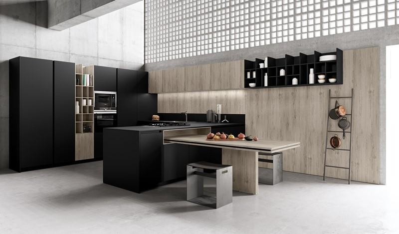 Czarne meble kuchenne w nowoczesnym stylu, projekt TLK Kitchens