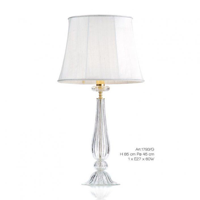 Klasyczna lampa stołowa biała ze szkła murano 1793G