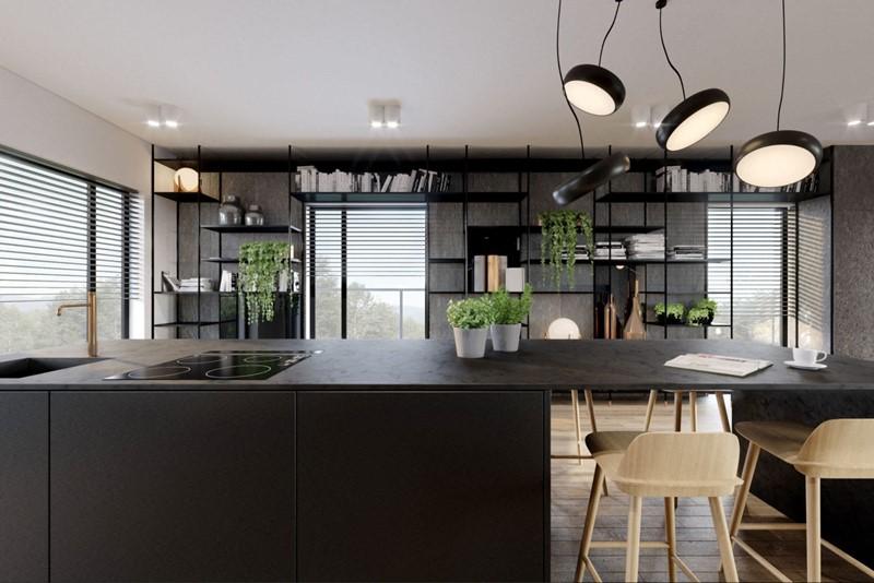 Czarne meble kuchenne w nowoczesnym apartamencie