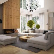 Pokój dzienny z widokiem na las, proj. Nasciturus Design