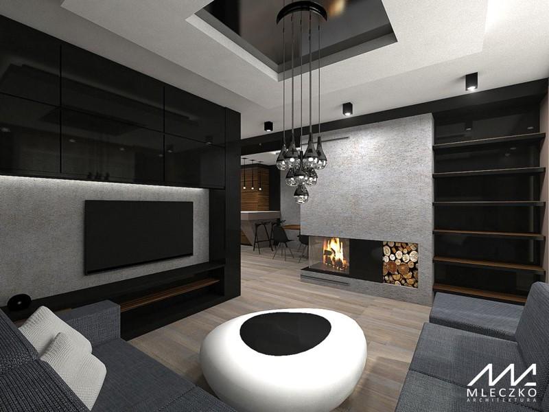 Salon i jadalnia w czerni i szarościach – widok z salonu, proj. Mleczko Architektura