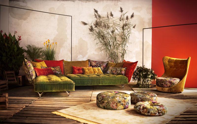 Welurowa zielona sofa Bretz