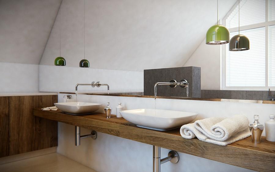 Łazienka w stylu skandynawskim na poddaszu