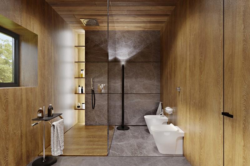 Łazienka w stylu skandynawskim wykończona fornirem