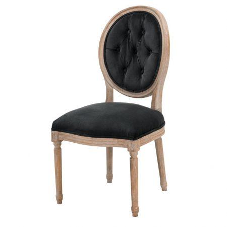 Klasyczne czarne krzesło do jadalni Louis Philip