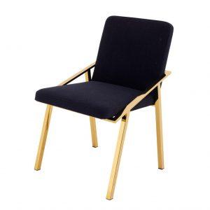 Krzesło Reynolds czerń i złoto Eichholtz