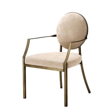 Krzesło do jadalni Scribe z podłokietnikami beż Eichholtz