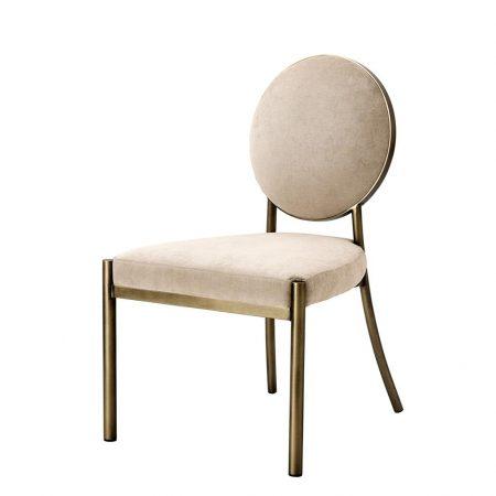 Krzesło do jadalni Scribe mosiądz i beżowy aksamit Eichholtz