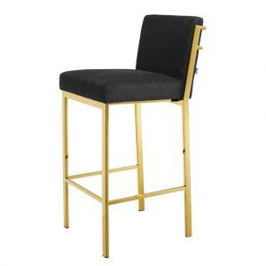 Krzesło barowe Scott gold finish black velvet Eichholtz