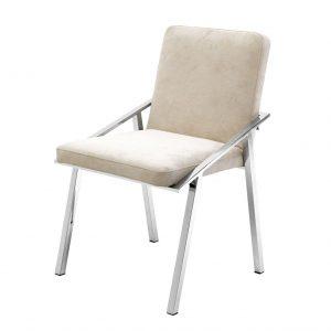Krzesło Reynolds z aksamitu i stali écru Eichholtz