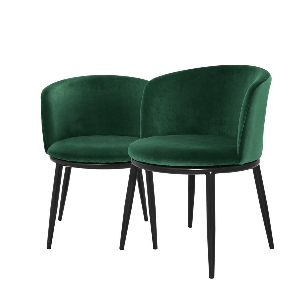 Eleganckie krzesło do jadalni Filmore ciemna zieleń