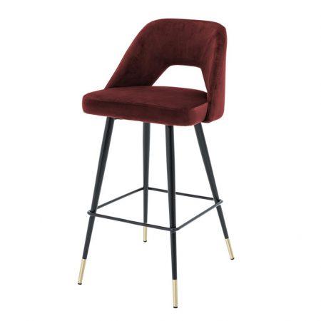 Krzesło barowe Avorio Eichholtz welwet bordo