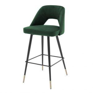 Krzesło barowe Avorio Eichholtz welwet ciemna zieleń