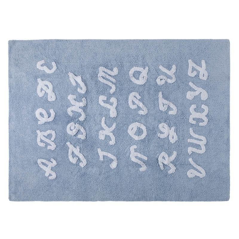 Błękitny dywan Alfabet do prania 120x160cm Lorena Canals