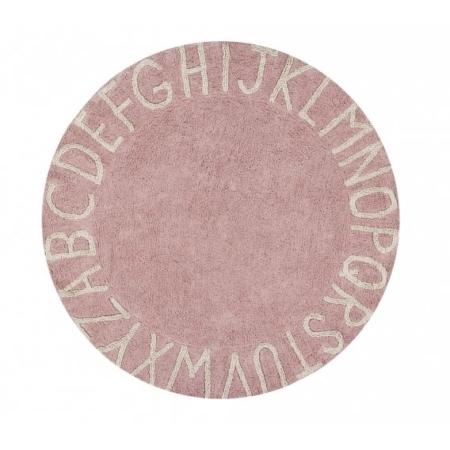 Okrągły, różowy dywan do prania 1500cm Alfabet Lorena Canals