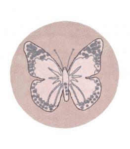Okrągły, różowy dywan Motyl do prania 1600cm Mariposa Lorena Canals