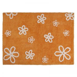 Pomarańczowy dywan Kwiaty do prania 120x160cm Lorena Canals
