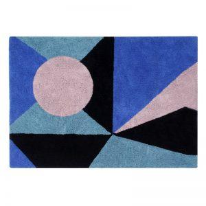 Niebieski dywan do prania 140x200 prostokątny Geometric Frame Lorena Canals